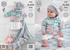 King Cole DK Knitting Pattern 4202:Easy Knit Cardigan,Blanket & Beret