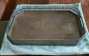 Large TIFFANY Sterling Silver Handled Tray Reticulated Side Walls 76 ozt Mono'd