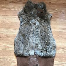 BCBG Max Azria Women's Vest Rabbit Fur Wool Brown Buckle Detail Size XS