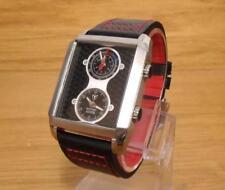 Mens DeTomaso Adria DT1050A Leather Retro Black Dual Display Analog Watch BNiB