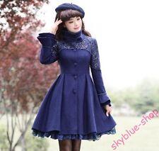 Ladies Lace Floral Slim Fit Long Parka Coat Wool blend Elegant Ball Gown Jackets