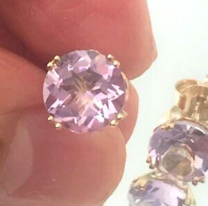 Pink amethyst earrings: 9ct gold genuine amethyst stud earrings