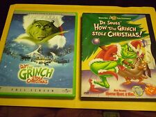 (2) Dr. Seuss How the Grinch Stole Christmas DVD Lot: Both Versions  Jim Carrey