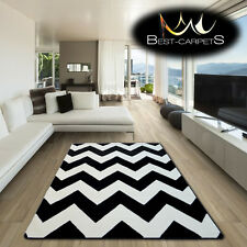 AMAZING THICK MODERN RUGS SKETCH ZIG ZAG WHITE BLACK F66 LARGE SIZE BEST-CARPETS