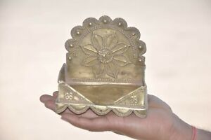 Old Brass Handcrafted Fine Embossed Work Throne/ Stand, Collectible