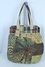 Tall Canvas Beaded Cruise Tote Pool Beach Bag Paul Brent Sun N Sand Handbag