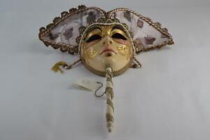 Genuine Venetian Maschere Masquerade Mask Stick Made In Italy