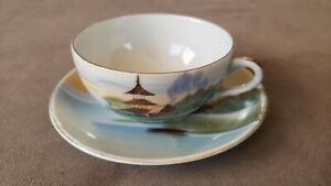 Antique 1920 S&K Hand painted Bone China Cup and Saucer. Made in Japan.