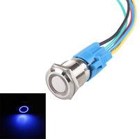16mm 12V KFZ Schalter Drucktaster Taster Druckschalter LED Beleuchtet Blau AT