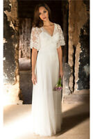Short Sleeves V Neck A Line Wedding Dress Lace tulle Boho Country Bridal Gown