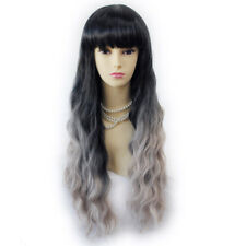 Wiwigs Wonderful Wavy Black & Grey Long  Dip-Dye Ombre Hair Wigs