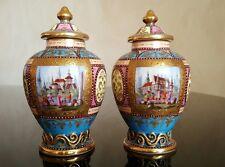 PAIR 18th or 19th Century KPM Berlin Germany Porcelain Vases Jars Hand Painted