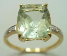 NICE 10KT YELLOW GOLD CUSHION CUT GREEN AMETHYST & DIAMOND RING SIZE 7   R1442