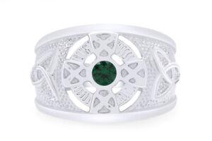 0.40 CT Celtic Mens Green  Emerald Band Ring 14k Rose Gold Over Sterling