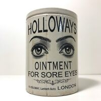 Large Holloways 2 Eye Ointment Pot Antique Jar Marmalade & Optician Spectacles