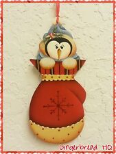 HP Penguin,  winter ,mittens, wooden, christmas  ornament,  handpainted, red