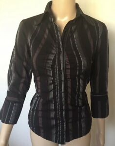 Portmans Fitted Shirt Ladies Size 10 Black Pin Stripe Red Silver Stretch