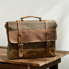 Vintage Water Resistant Waxed Canvas Shoulder Bag Crossbody Messenger Briefcase