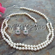 "S092305 26"" 2 Strands White Round Pearl CZ Pendant Necklace Earrings Set"