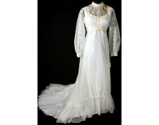 Size 8 Wedding Dress - Victorian Inspired 1970s Organdy Bridal Gown Cameo Lace