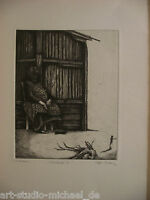 """Rolf Escher: """"Wartende 2"""" Radierung, Probedruck, 1972"""