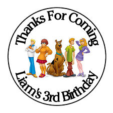 """24 PERSONALIZED SCOOBY DOO BIRTHDAY PARTY FAVOR LABELS STICKERS 1.67"""""""