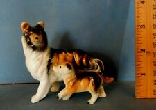 Black & Sable Collie Dog & Puppy Ceramic Figurine Vintage Japan sheltie