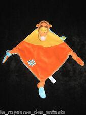 Doudou plat losange Tigrou Disney Baby Nicotoy bleu jaune orange 3 noeuds 37 cm