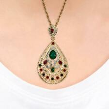 """Emerald Ruby & Diamonds 2.60Ct 14k Yellow Gold Over Pendant 18"""" Chain Necklace"""