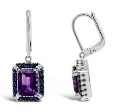 Le Vian® Earrings - Amethyst, Sapphire, Vanilla Diamonds® 14K Vanilla Gold®