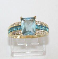 Aquamarin blau türkis Herren Damen Ring Gold 18K GF (750) Gr 68 Ø21,6 mm gest