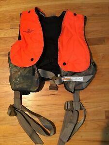 Gorilla Tree Stand Fall Defense Safety Harness w/Vest Timber Camo/Orange 3lbs