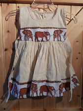 Pretty Safari Dress In Cream With Elephant Motifs Age Approx 18 - 24 Months 22""