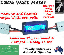 130 Amp Watt Volt Meter Power Analyzer with Anderson plugs 12v 130a Solar 4x4