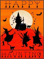 OrIgInAl FoLk ART HallOwEEn WiTcH SpElls DaNcE BaT CaT HaUnTiNg MooN BrOOm PrInT