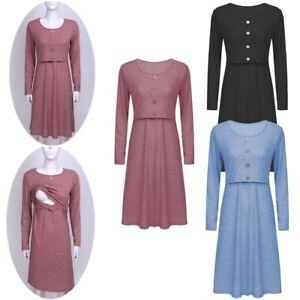 Maternity Nursing Dress Breastfeeding Long Sleeve Women Pregnancy Casual Clothes