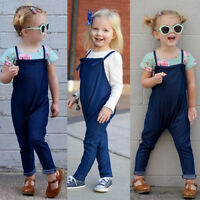 Summer Toddler Kids Baby Girls Jeans Denim Rompers Dungarees Outfits Jumpsuits