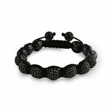 Black Pave Crystal Ball Hematite Shamballa Inspired Bracelet Black Cord String