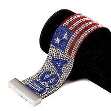 Novelty Jewelry Crystal Bracelet US/American Flag  Punk Band Unisex Bracelet