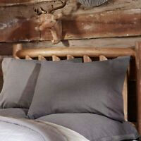 Black Rustic Bedding VHC Black Chambray Pillow Case Set of 2 Cotton Solid