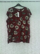 BNWT  SIZE 24 FLORAL  PRINT  TOP WITH FRILLED SLEEVES  PER UNA  MARKS & SPENCER