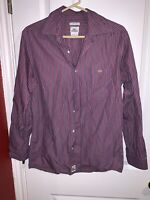 Lacoste Men's Button-Down Long-Sleeve Shirt Size 40 Classic Fit Striped, Red