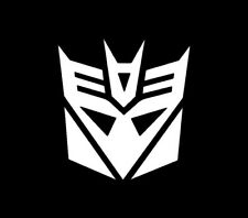 Transformers Decepticon Vinyl Sticker WHITE GLOSS 8 x 7.5 cm