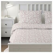 Ikea HASSLEKLOCKA Full/Queen Duvet Cover and 2 Pillowcases White/Pink Floral NEW