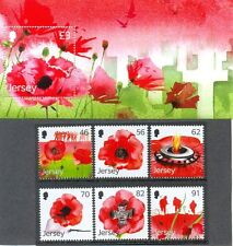 JERSEY REMEMBRANCE/POPPIES/FLANDERS SET OF 6 + S/SHEET MNH