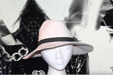 Janessa Leone Fedora hat  Women's wool SM white & black cord leather authentic