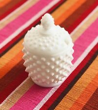Vintage Hobnail White Opaque Milk Glass Lidded Sugar Bowl without Spoon