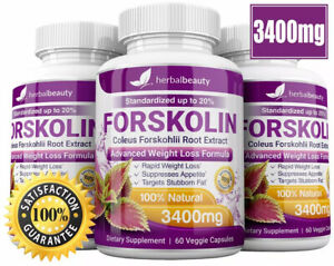 3 x Herbal Beauty FORSKOLIN 3400mg Maximum Strength RAPID RESULTS Pure Extract