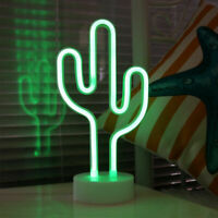 Neon Cactus Light LED Signs Night Lights Table Lamp Bedroom Deco Holder Base New