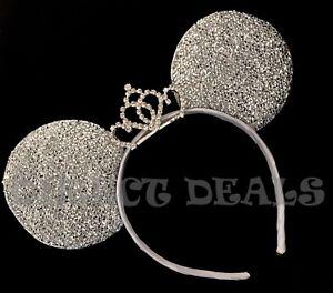 Minnie Mouse Princess Tiara Headband Sparkly Silver Ears Bachelorette Party CUTE